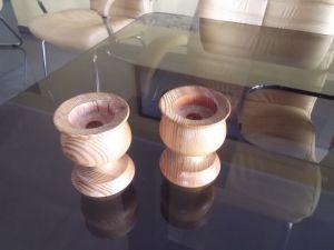 компрект дървени свещници 2бр