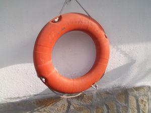 Оригинален спасителен пояс от кораб -трофей изхвърлен от морето