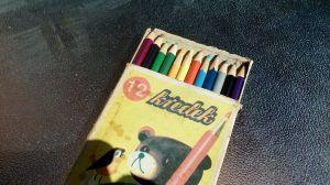 Стара оригинална кутия с дървени цветни моливи-12бр