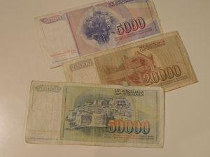 банкноти и монети-Югославски динари