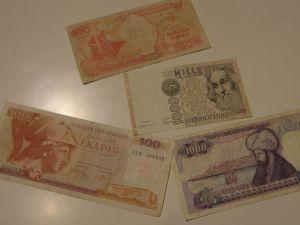 банкноти-турски,италиански ,индонезийски,гръцки