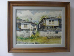 """картина-масло """"Селски пейзаж"""" 52/42см-дървена рамка"""