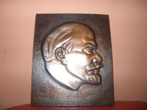 релефна медена картина-глава на Ленин -28х23см